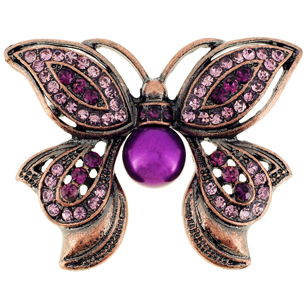 Amethyst Purple Butterfly Crystal Pin Brooch