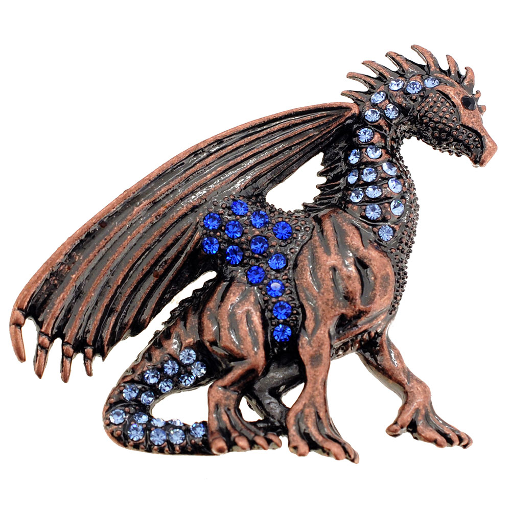 Vintage Style Mythical Flying Dragon Sapphire Crystal