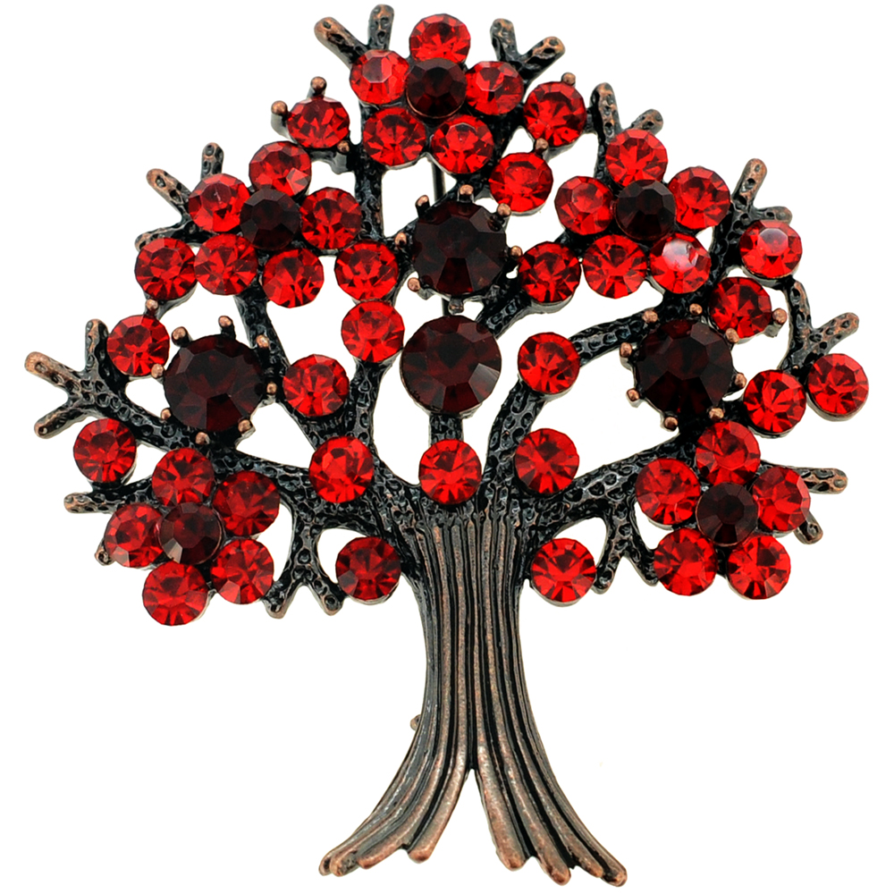Christmas Tree Farm Network: Red Tree-in-Full-Bloom Crystal Pin Brooch