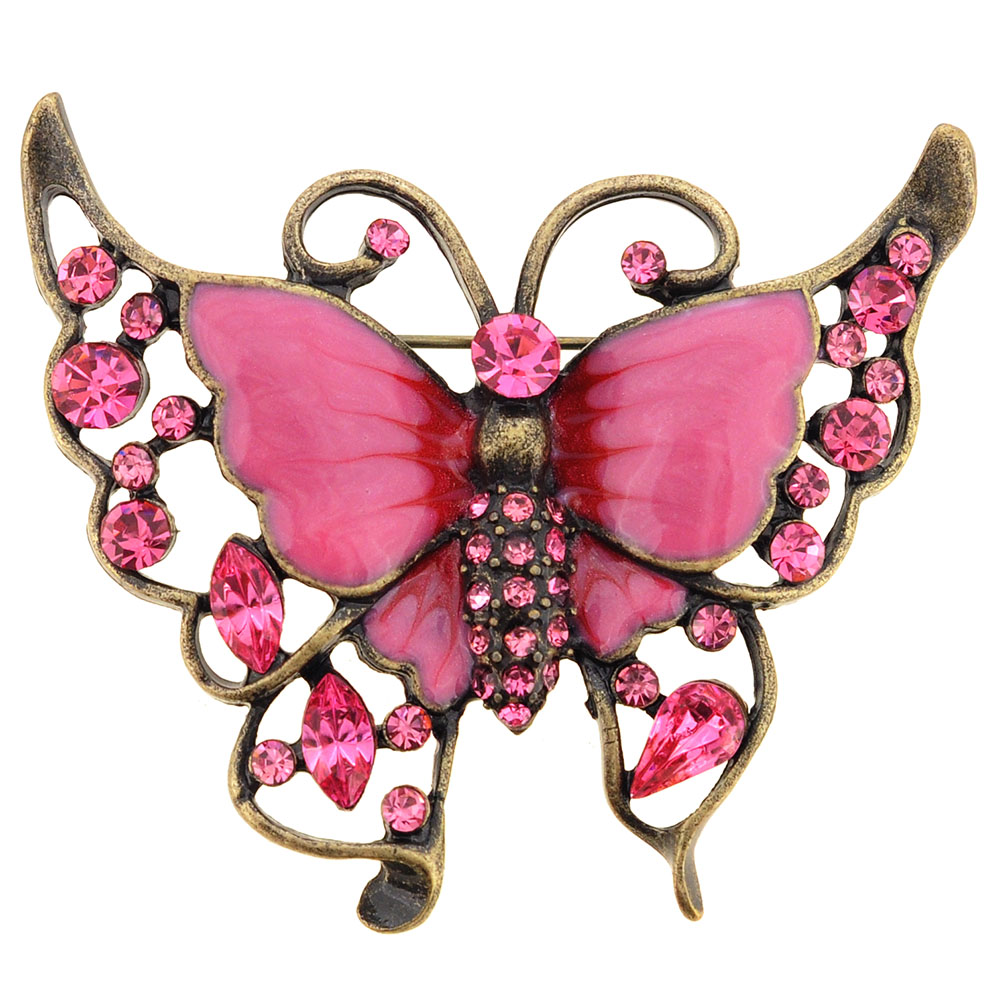 Pink Butterfly Crystal Brooch Pin