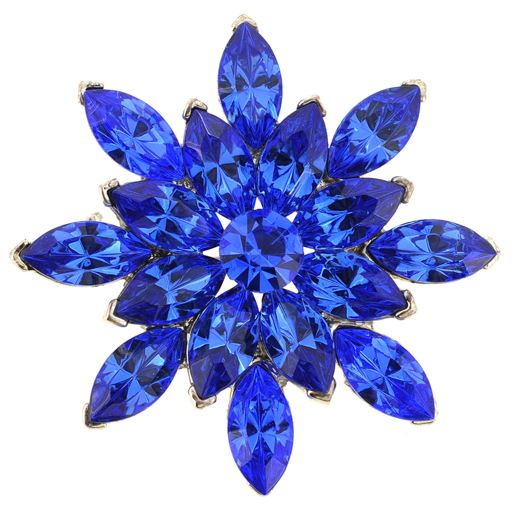 Sapphire Blue Flower Bridal Wedding Crystal Pin Brooch