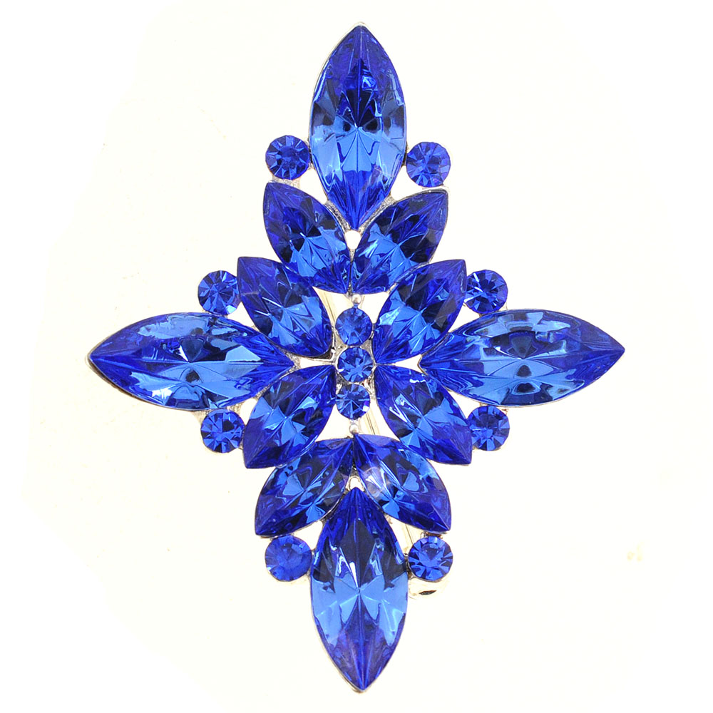 Sapphire Crystal Flower Wedding Pin And Pendant