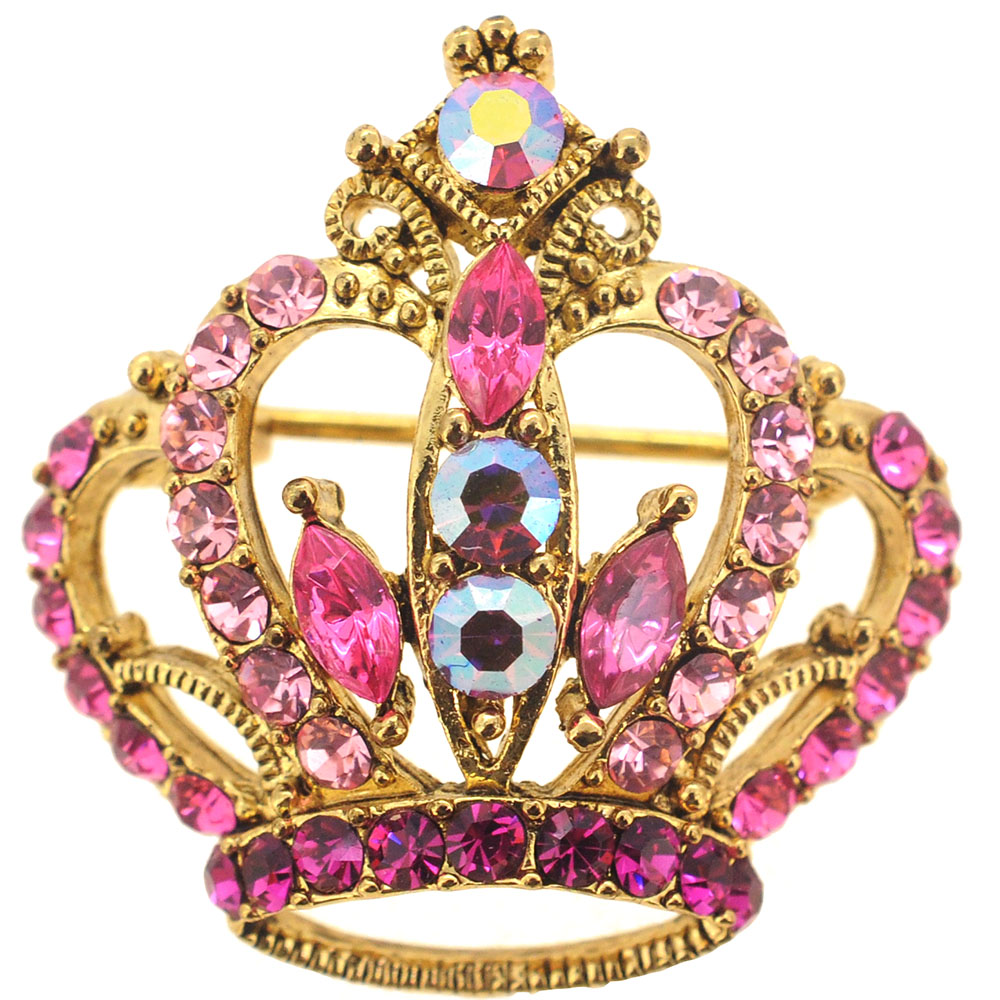Pink Crystal Crown Pin Brooch Fantasyard Costume Jewelry