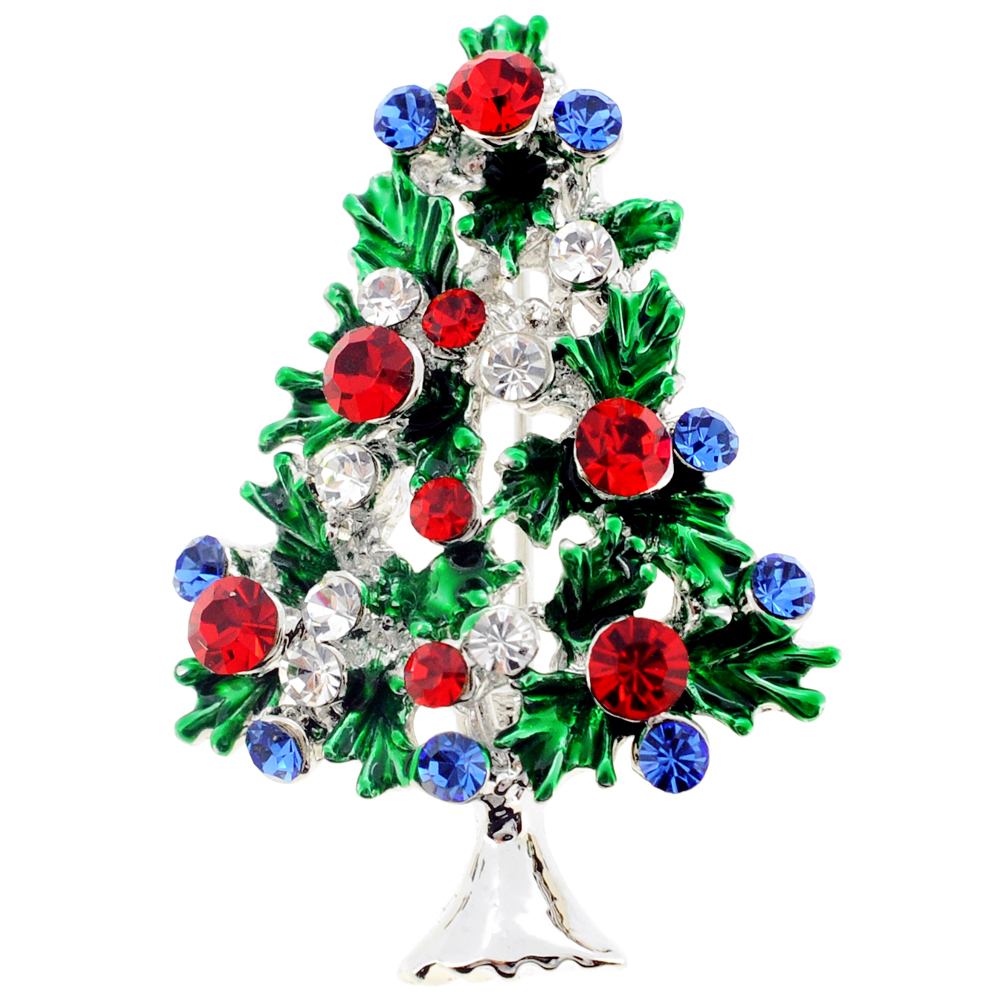 fashion design brooch jewelry rhinestones brooches with christmas and santa claus pp tree charm