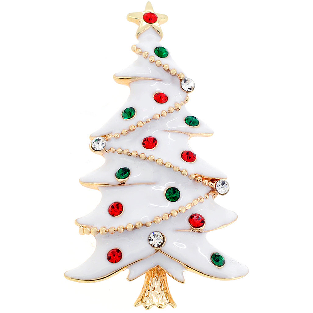 White Christmas Tree Crystal Pin Brooch - Fantasyard Costume Jewelry ...