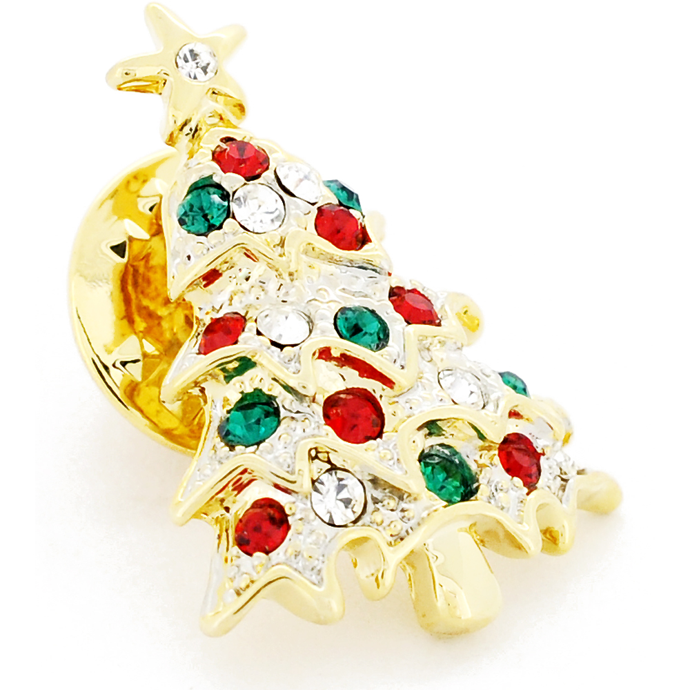 Christmas Tree Farm Network: Multicolor Golden Christmas Tree Crystal Lapel Pin