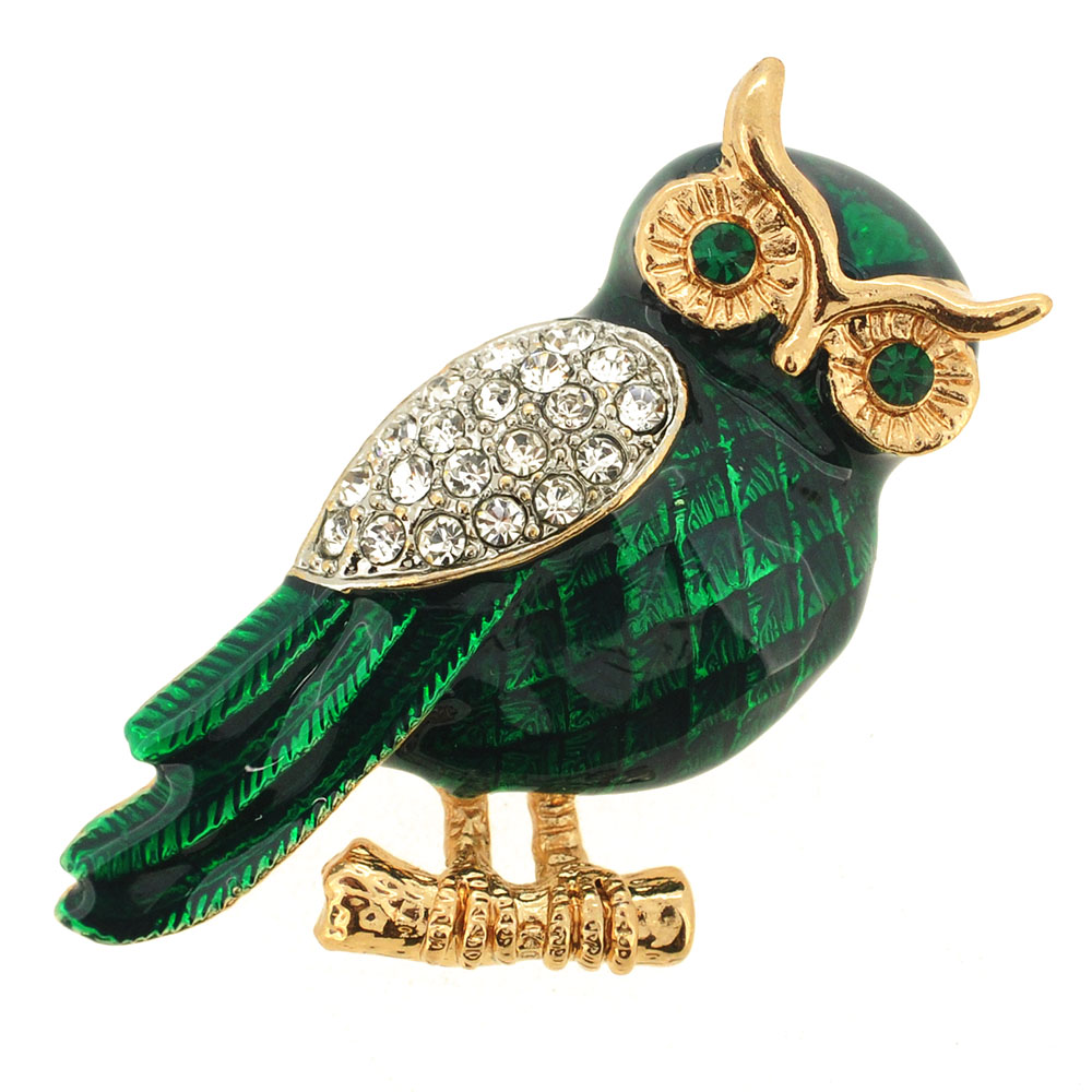 Enamel Green Owl Crystal Pin Brooch Fantasyard Costume