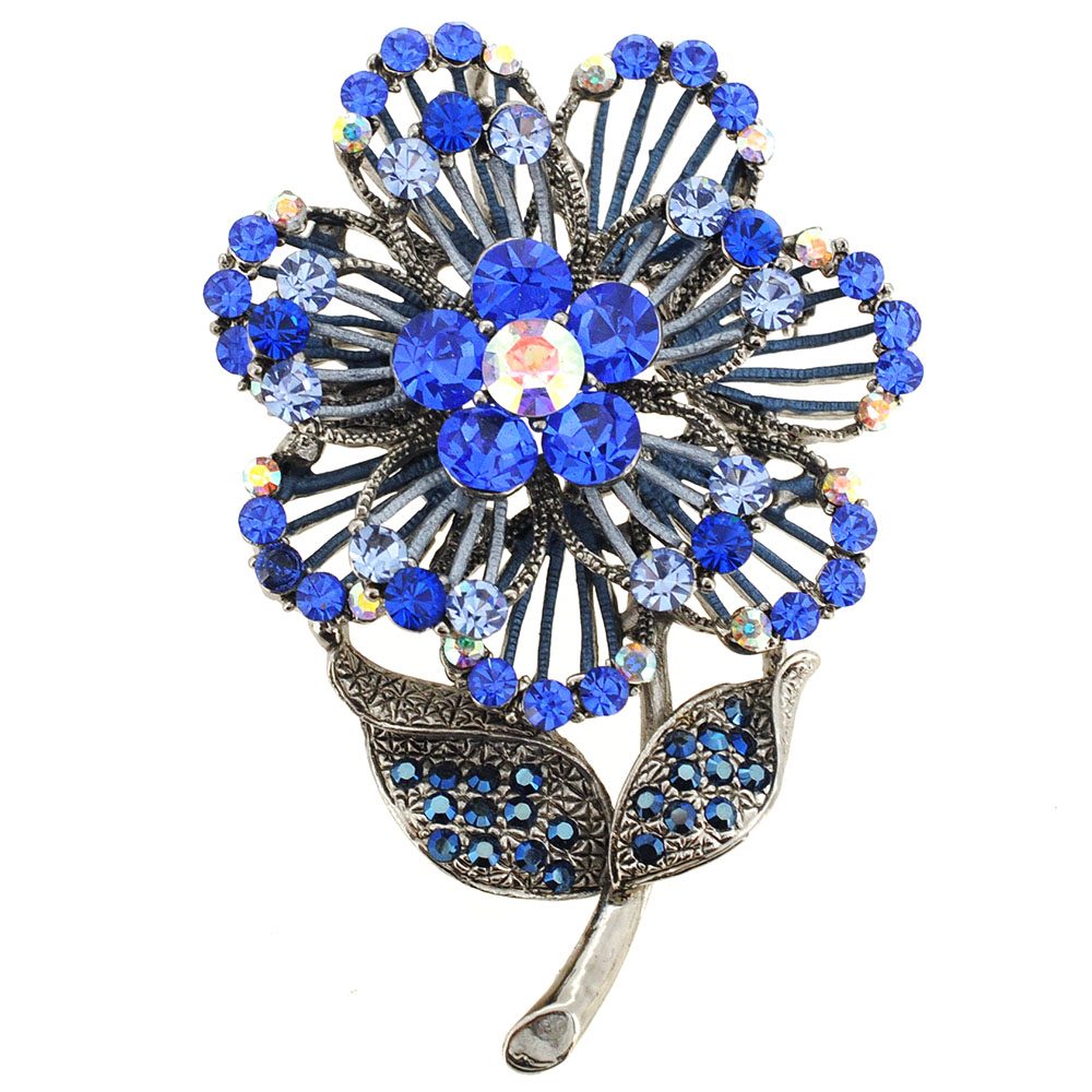 Blue Swarovski Crystal Flower Pin Brooch And Pendant ...