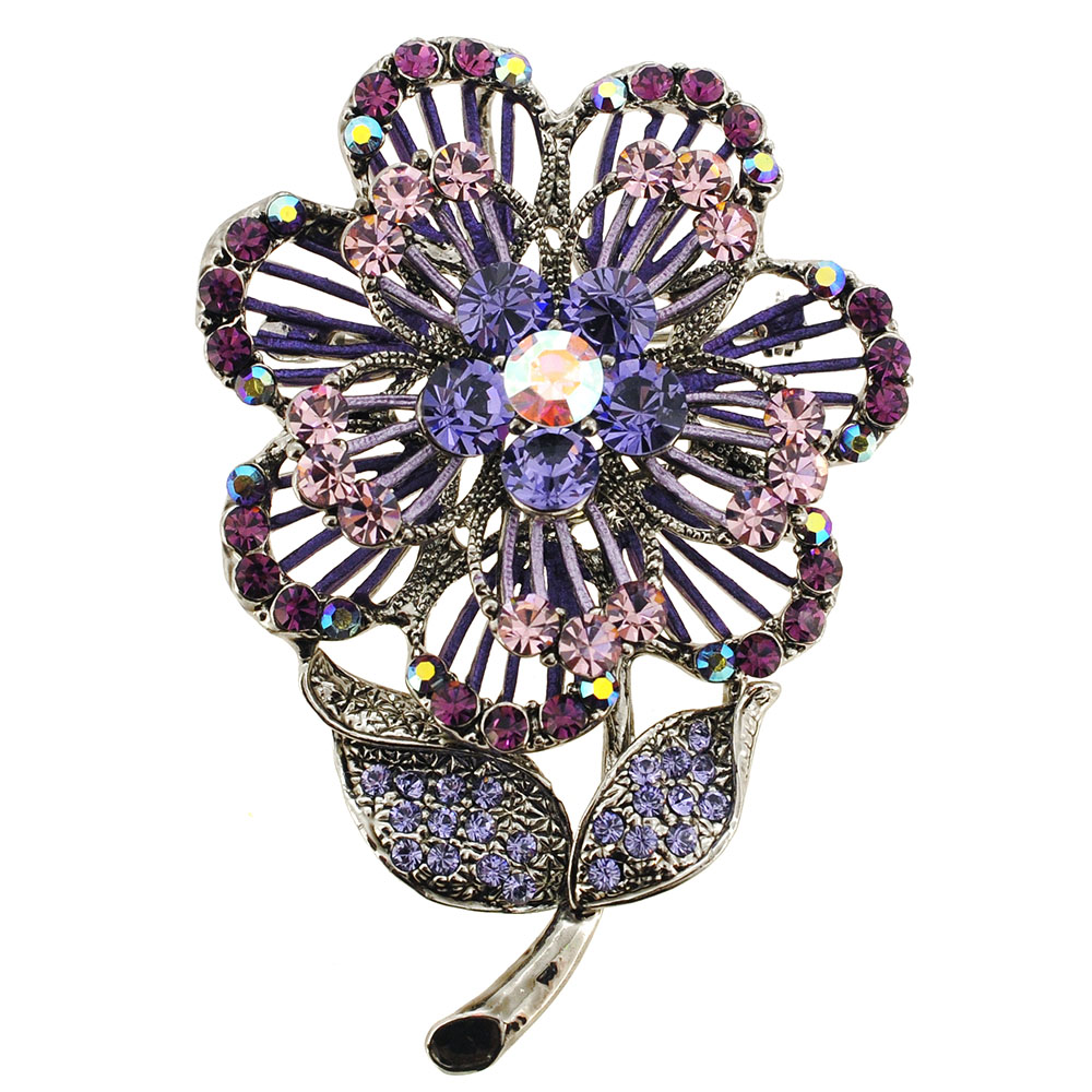 Purple Swarovski Crystal Flower Pin Brooch And Pendant ...
