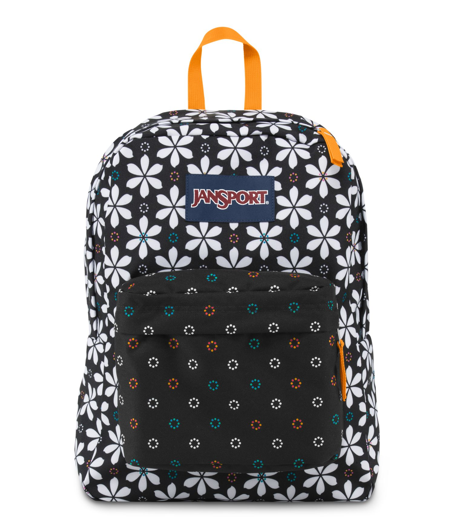 jansport superbreak school backpack - color black floral geo
