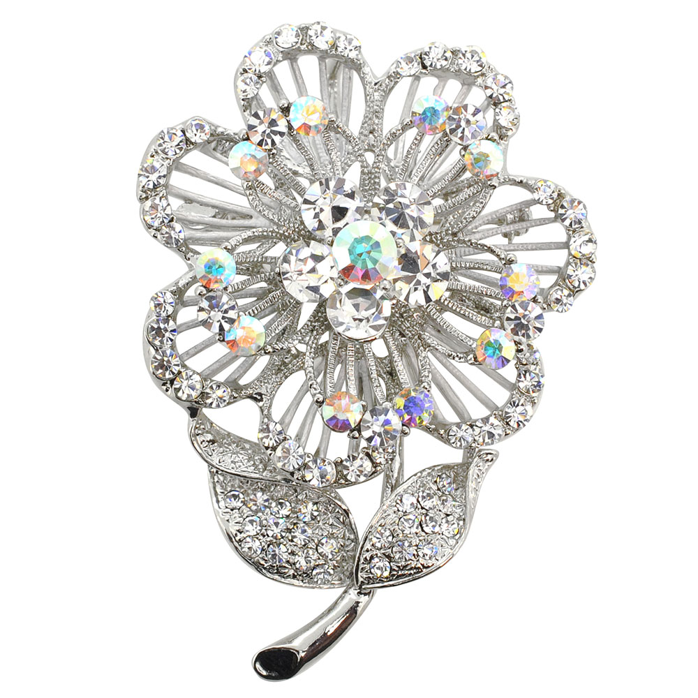 White Swarovski Crystal Flower Pin Brooch And Pendant ...