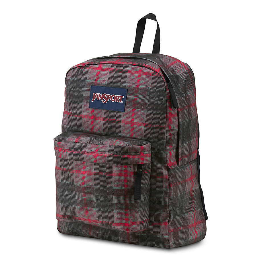 JanSport SuperBreak School Backpack - RED TAPE KNIT PLAID ...