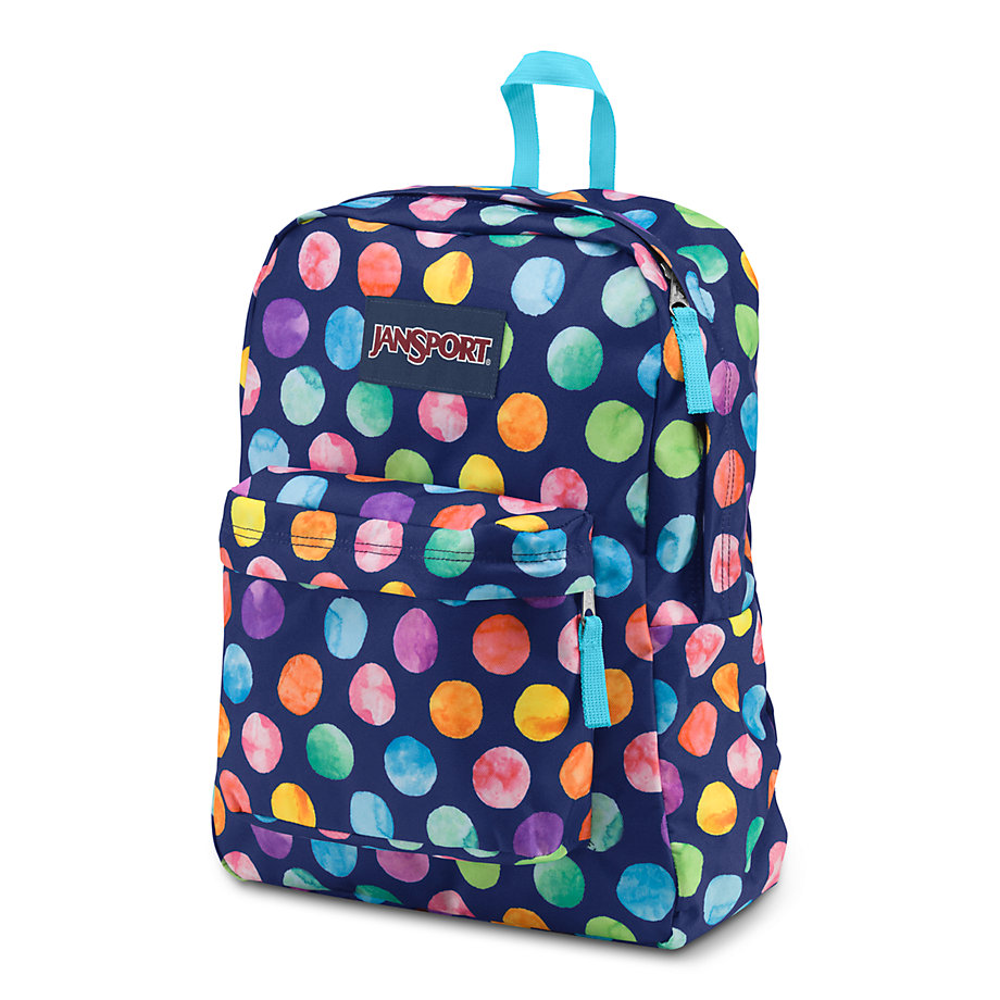 JanSport SuperBreak School Backpack - MULTI WATERCOLOR SPOTS ...