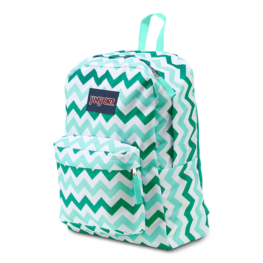 JanSport SuperBreak School Backpack - AQUA DASH ZOU BISOU