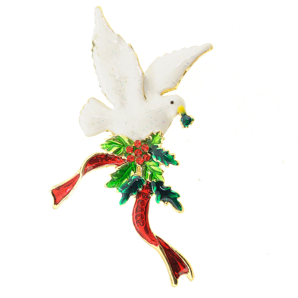 Festive Christmas Dove With Holly Berry Pin Brooch