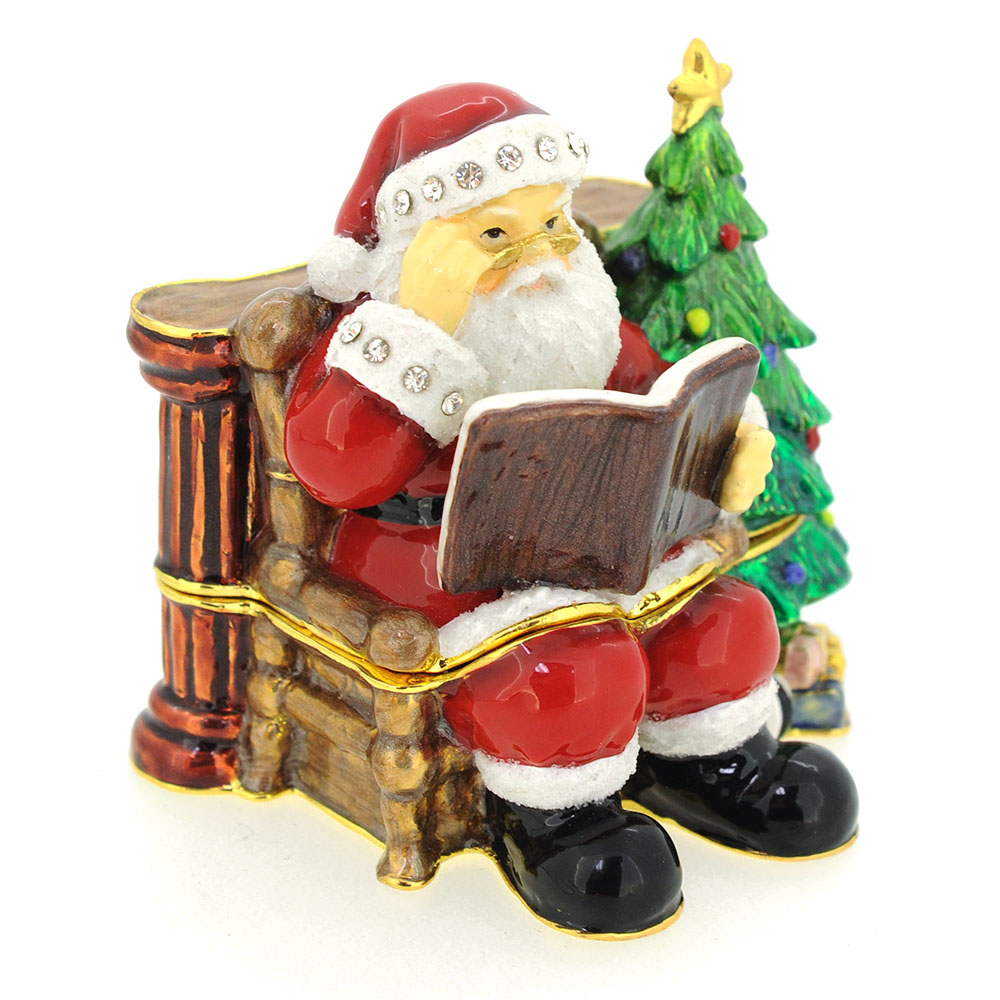 Red christmas santa claus and tree trinket box