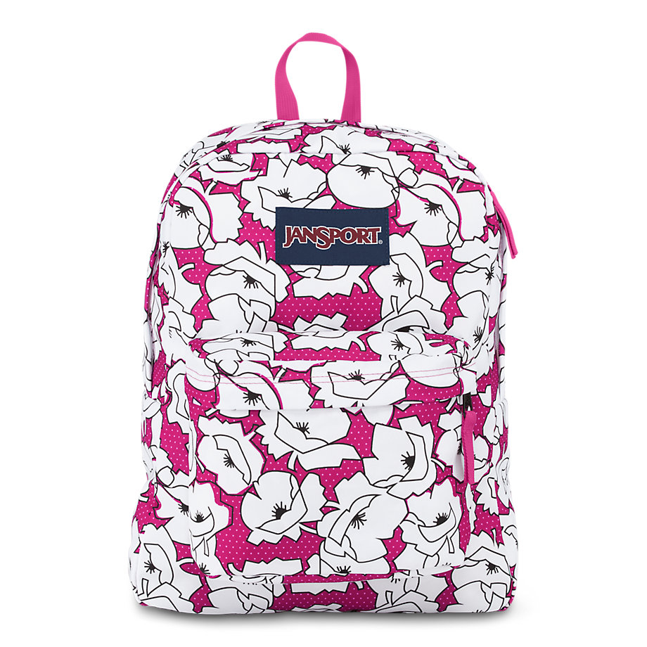jansport superbreak school backpack - cyber pink block floral