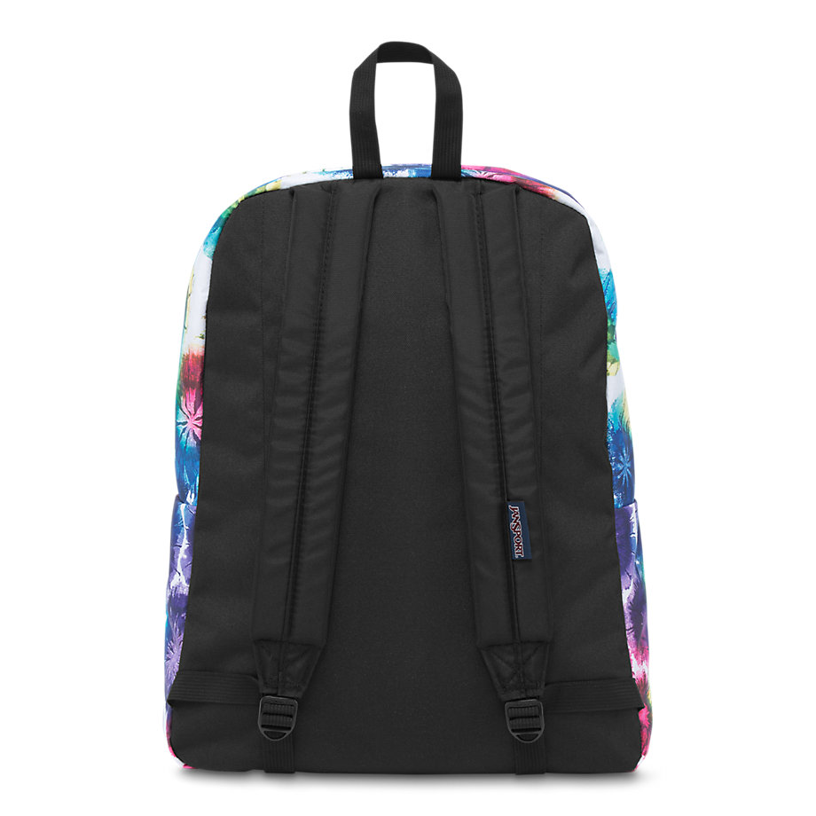 jansport superbreak school backpack multi tie dye swirls