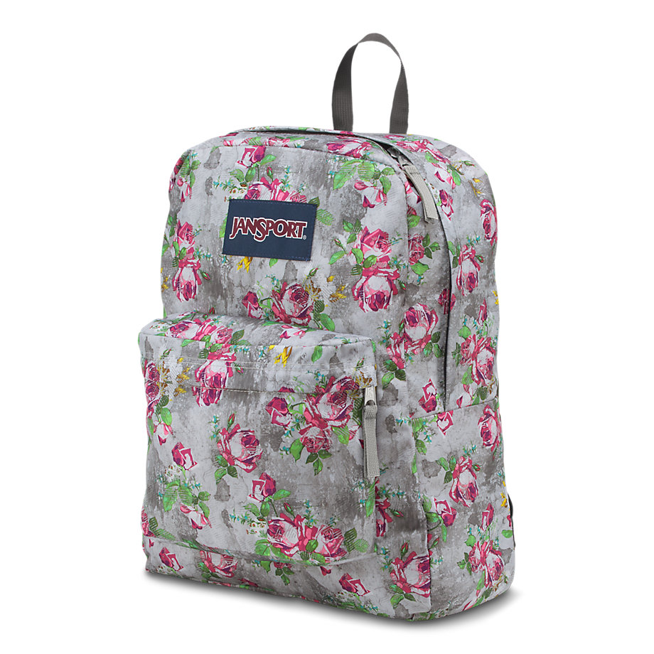 jansport superbreak school backpack - multi concrete floral