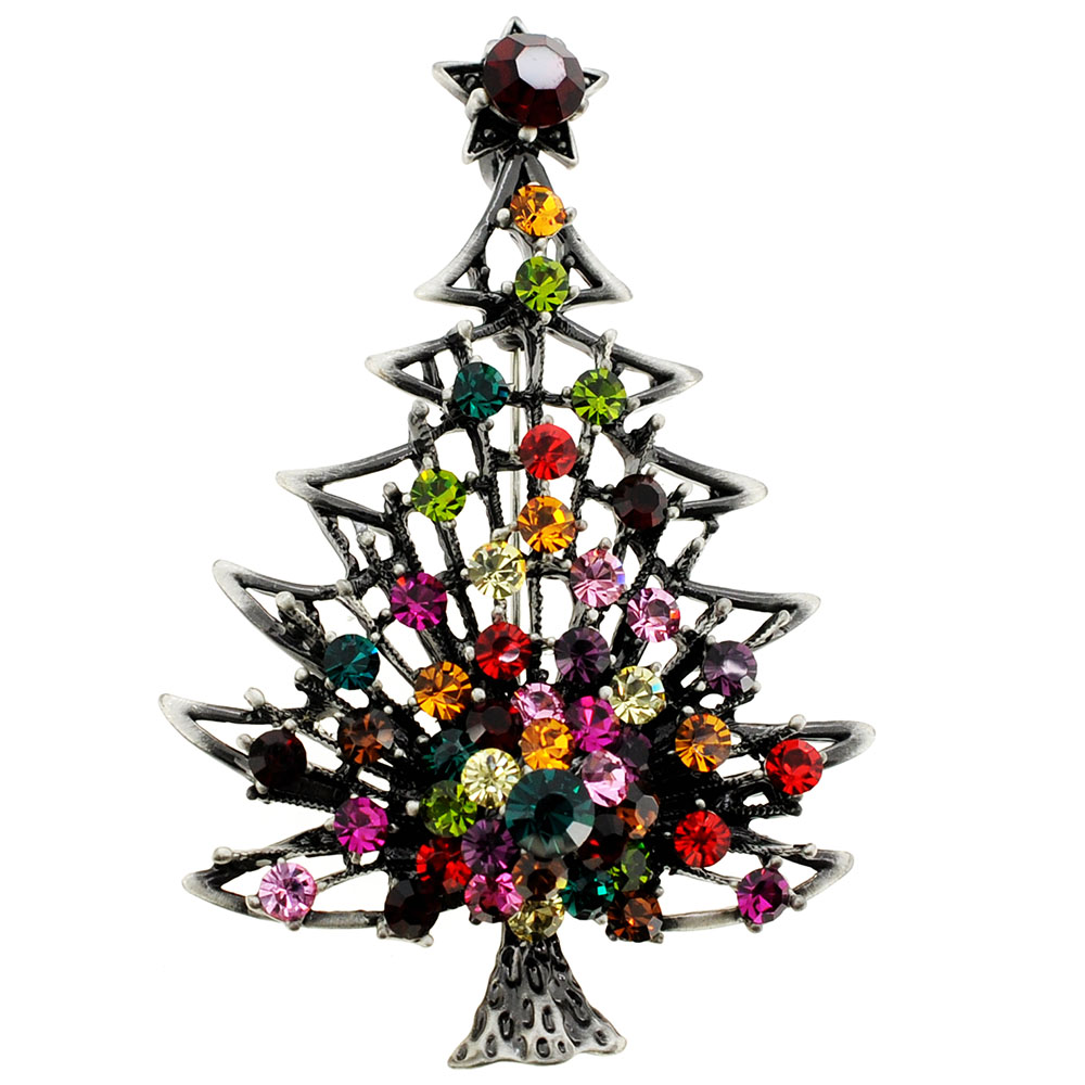 Christmas Tree Farm Network: Brass Christmas Tree With Colorful Star Crystal Pin Brooch