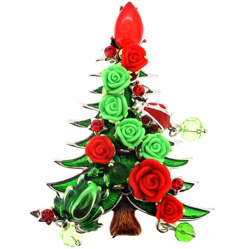 Red and green rose christmas tree pin brooch fantasyard for Red and green christmas tree