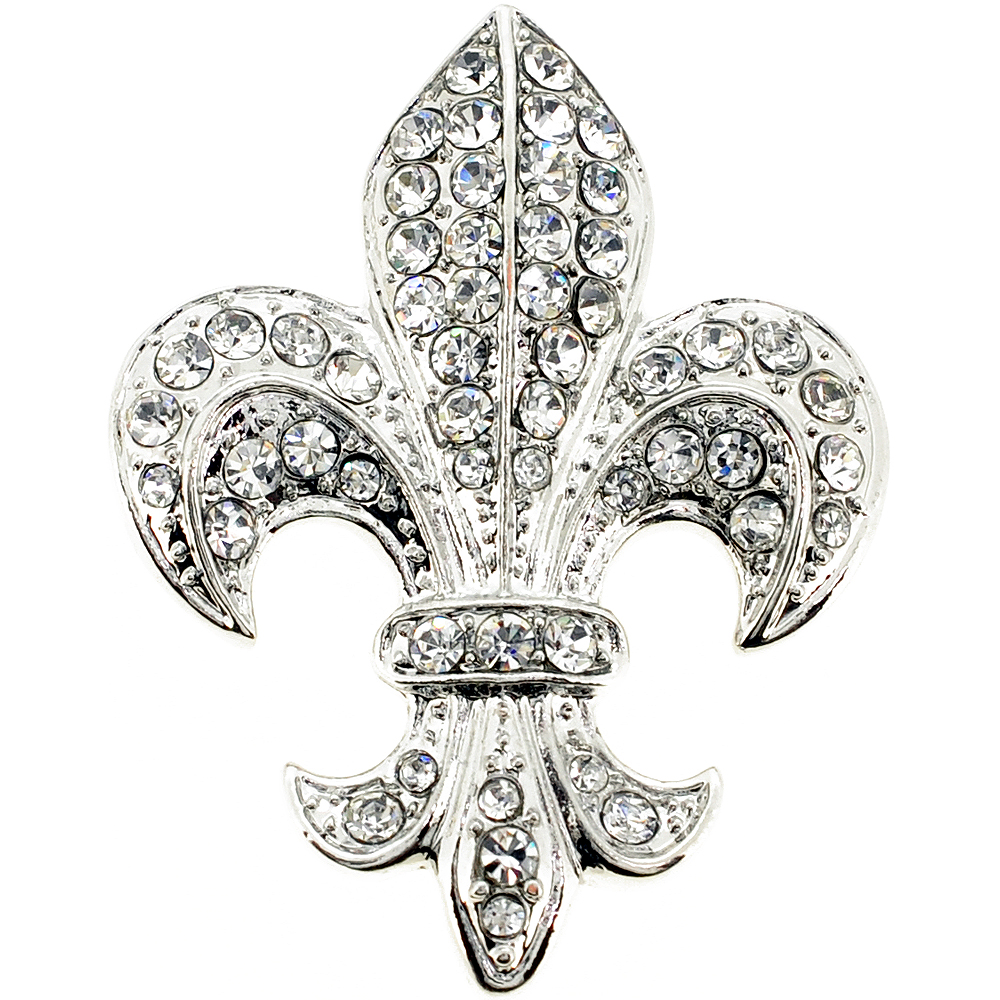 silver chrome fleur de lis crystal brooch and pendant fantasyard