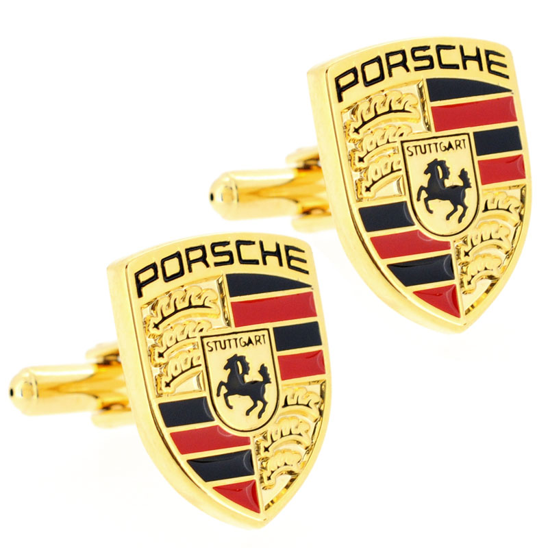 Golden Porsche Logo Automotive Car Cufflinks Fantasyard