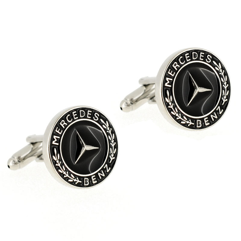 mercedes benz automotive car logo cufflinks black cuff