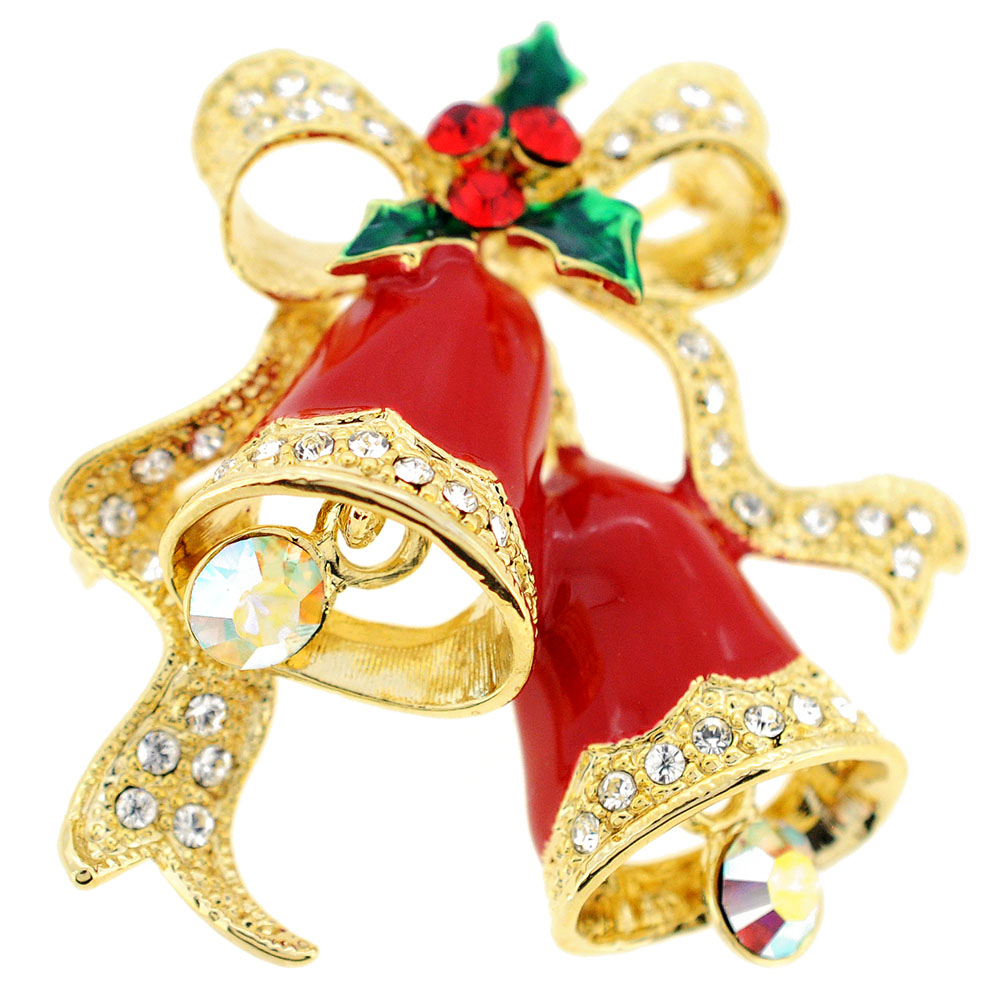 Christmas Bells Images.Red Christmas Bells Crystal Pin Brooch