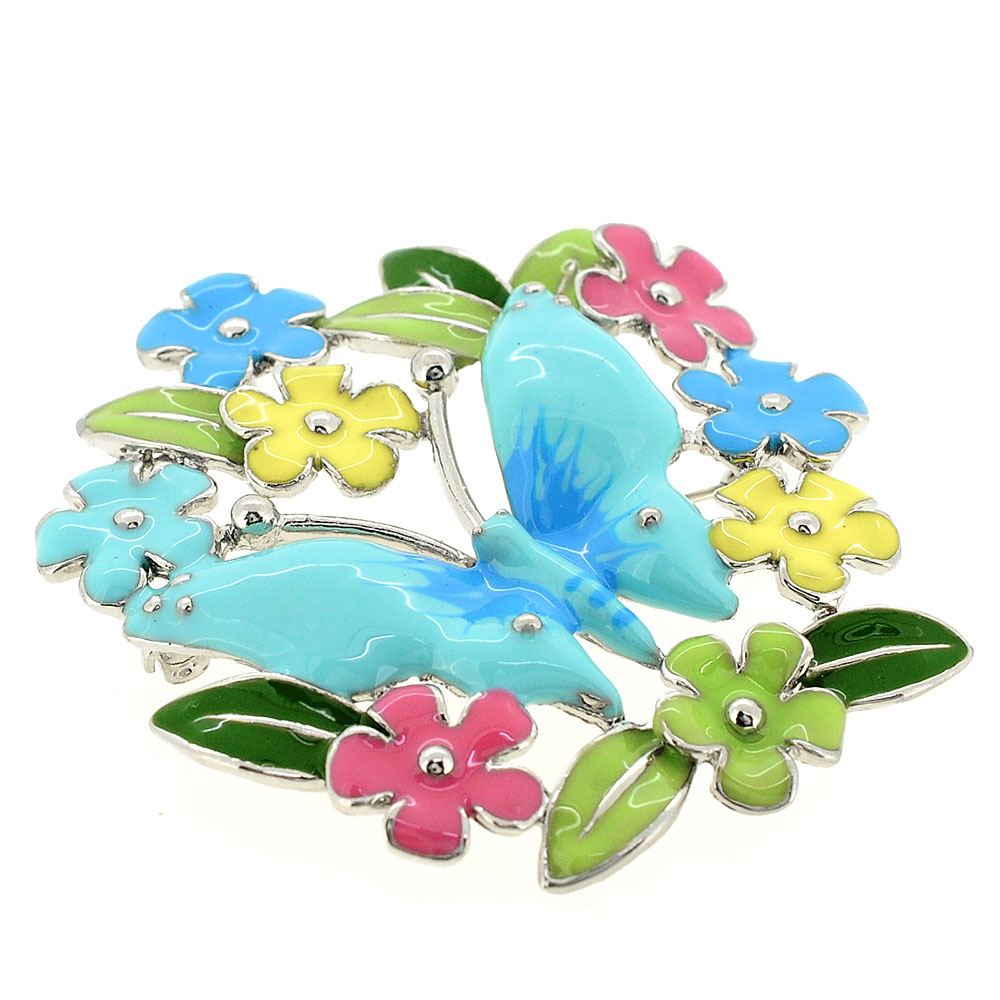 Multicolor butterfly garden pin brooch fantasyard costume jewelry blue butterfly multicolor flower wreath pin flower pin brooch izmirmasajfo Gallery