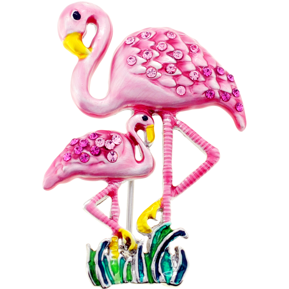 Pink Flamingo Mother and Baby Swarovski Crystal Pin Brooch