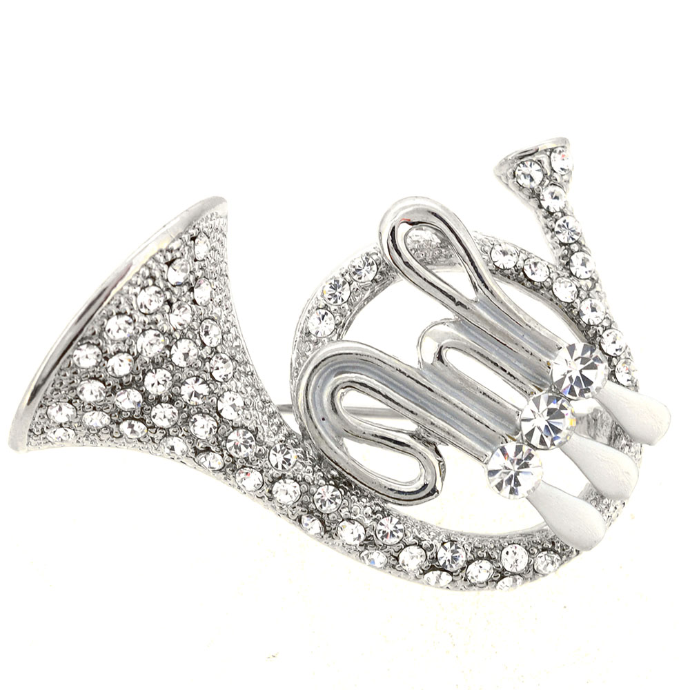 Silver Crystal French Horn Pin Brooch