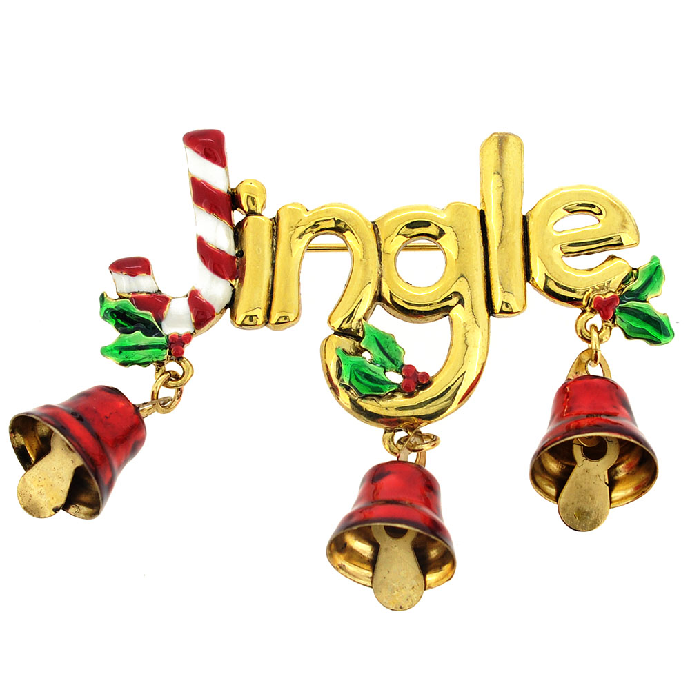 Christmas Jingle Bell Candy Cane Pin Brooch