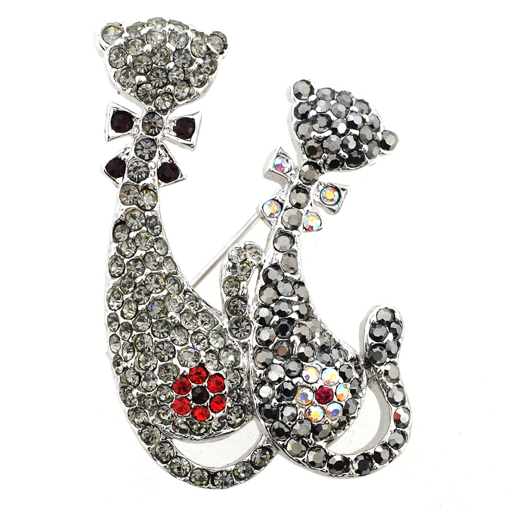 Black Couple Cat Swarovski Crystal Kitty Pin Brooch ...