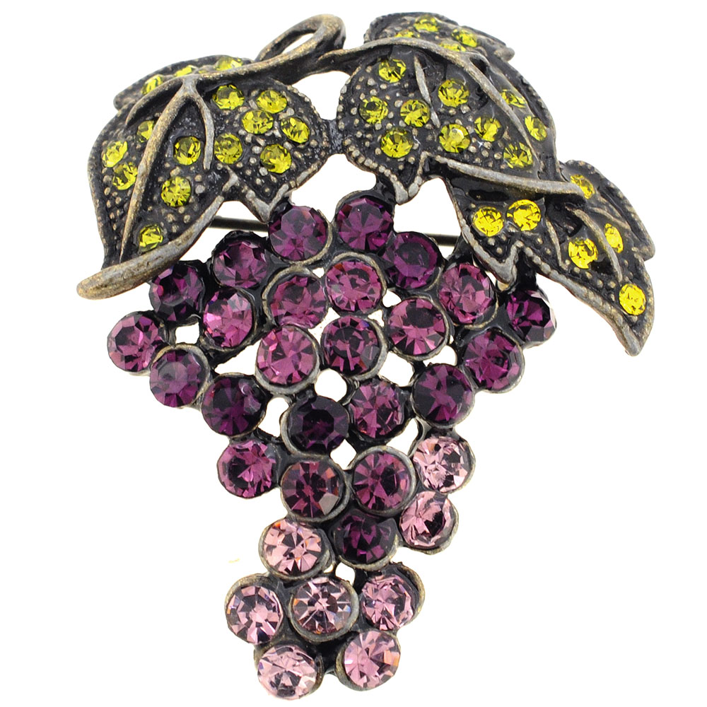 brooches women item garment from pin fruit pearls rhinestone romantic crystal violet accessory grape brooch fashion jewelry in metal gift
