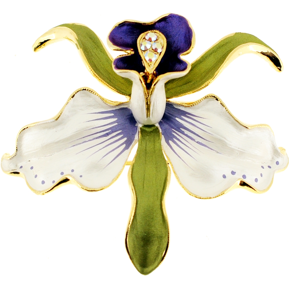 White And Purple Orchid Flower Swarovski Crystal Pin Brooch