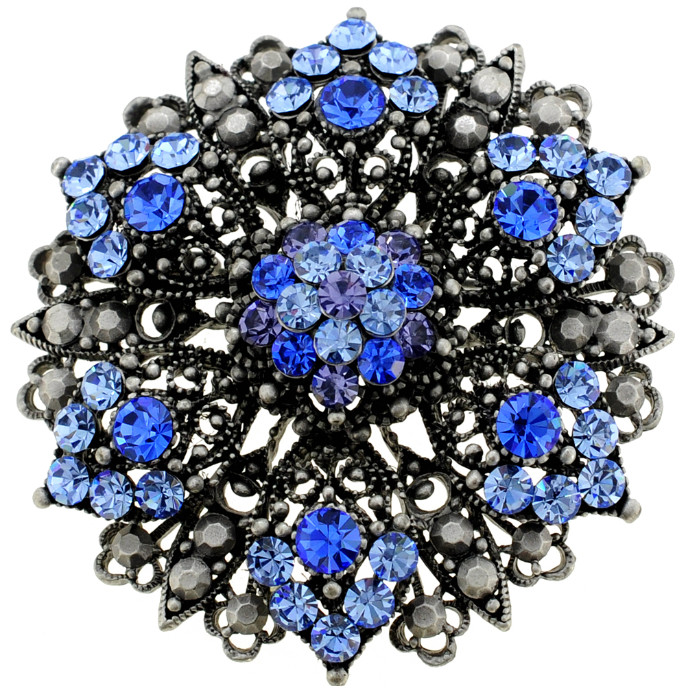 Blue Flower Bridal Wedding Sapphire Crystal Pin Brooch And
