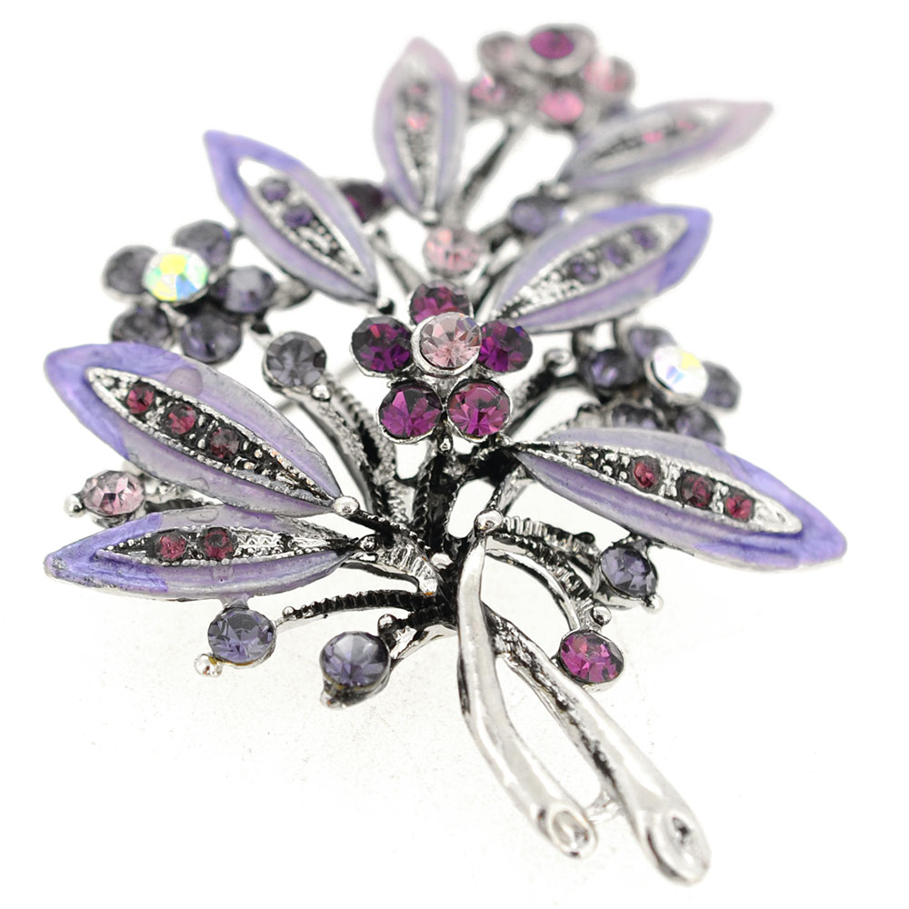 Amethyst Purple Flower Bouquet Brooch Pendant Fantasyard Costume