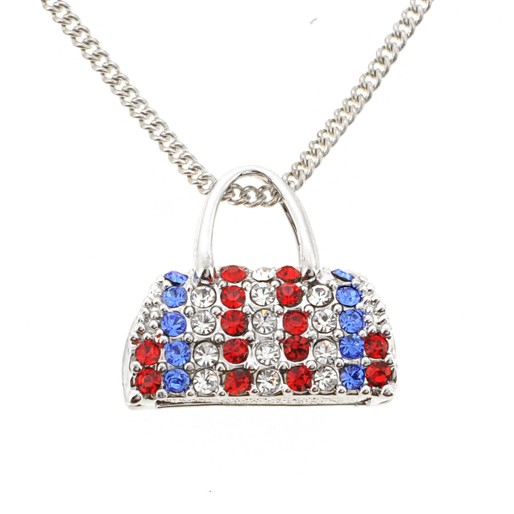 287cf78d05dc Colorful Swarovski American Flag Crystal Handbag Purse Silver ...