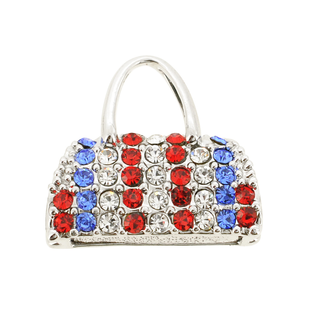 Colorful Swarovski American Flag Crystal Handbag Purse Silver Pendant