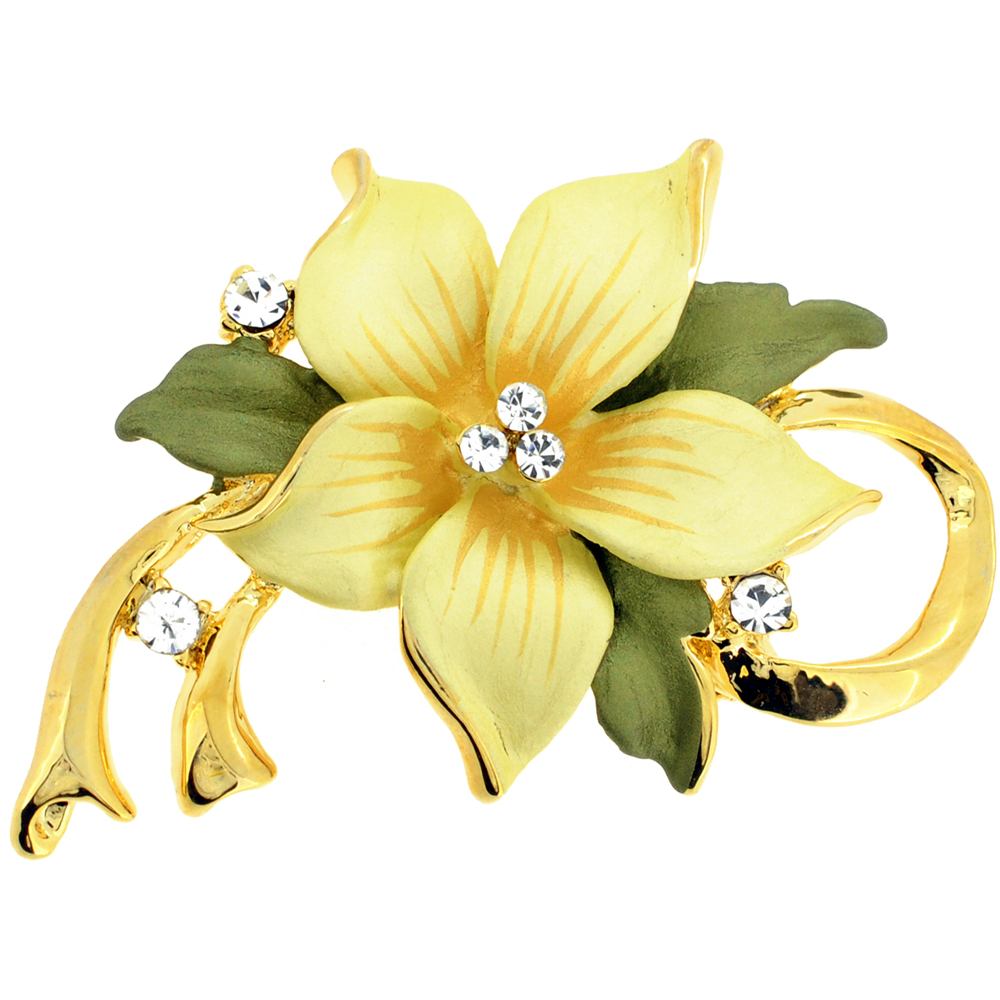 Yellow Poinsettia Swarovski Crystal Flower Pin Brooch And Pendant