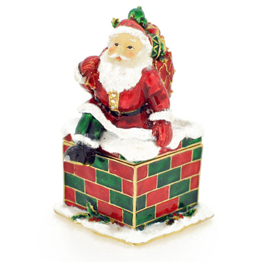 Christmas Gift Christmas Santa Claus Crystal Jewelry Trinket Box