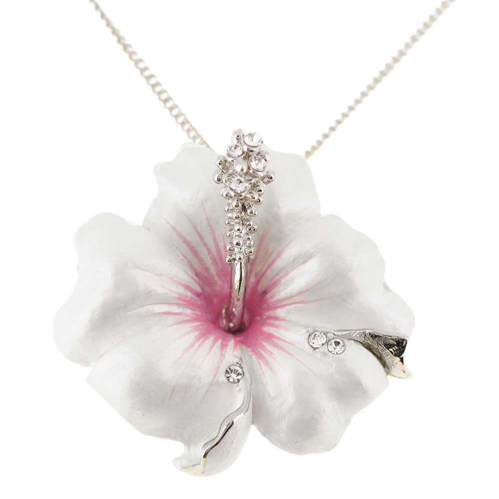 Hawaiian white flower necklace flowers healthy small white hawaiian hibiscus pin swarovski crystal flower pin brooch and pendant chain not included small white hawaiian hibiscus swarovski crystal flower izmirmasajfo