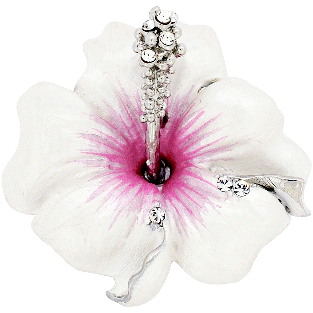 Small white hawaiian hibiscus swarovski crystal flower pin brooch small white hawaiian hibiscus swarovski crystal flower pin brooch and pendant mightylinksfo