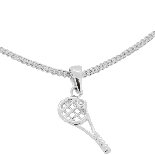 Tennis racket with tennis ball pendant silver necklace with tennis racket with tennis ball pendant silver necklace with swarovski crystal chain included aloadofball Images