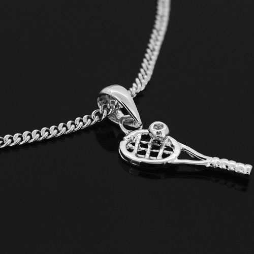 Tennis racket with tennis ball pendant silver necklace with tennis racket with tennis ball pendant silver necklacechain included mozeypictures Choice Image