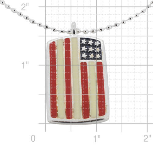 3f840fca7141 Silver American Flag Dog Tag Necklace (Chain Included) - Fantasyard ...