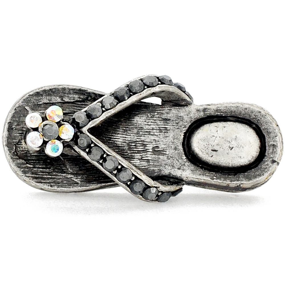vintage style flower flip flop lapel pin and