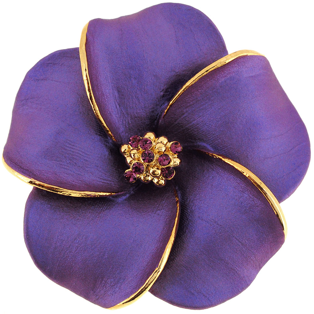 Dark Purple Hawaiian Plumeria Swarovski Crystal Flower Brooch Pin And Pendant
