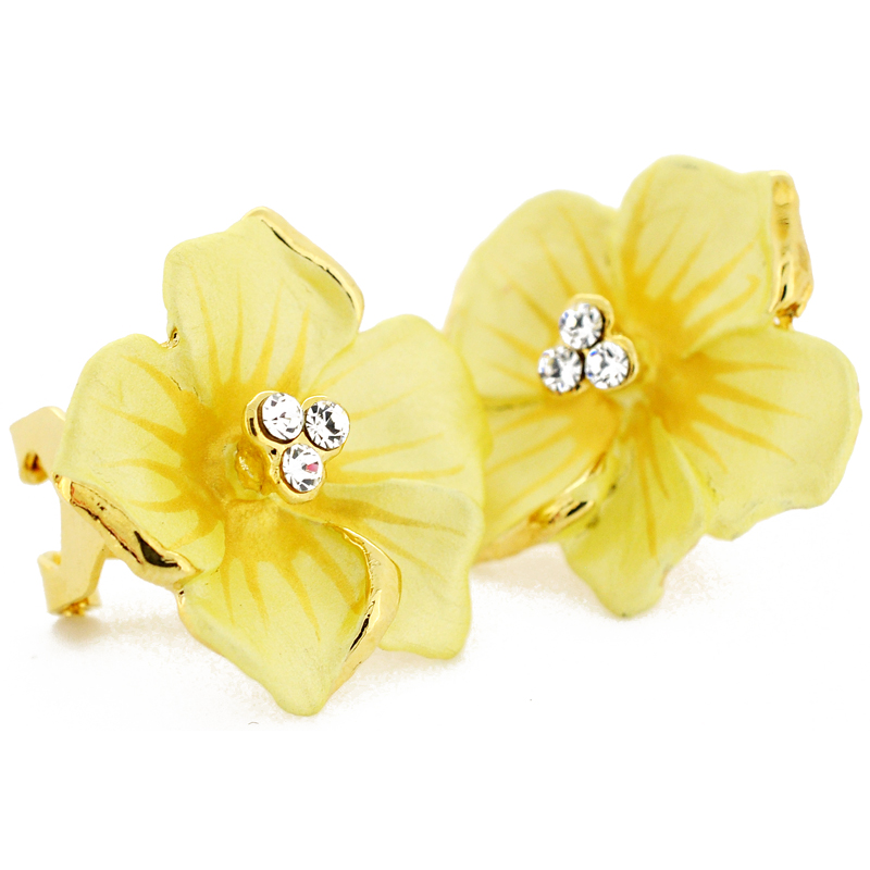 Yellow Flower Swarovski Crystal Earrings